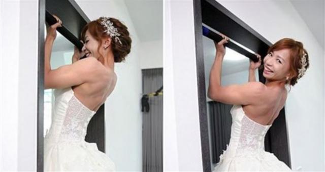 彪悍新娘 女子穿婚纱做引体向上走红