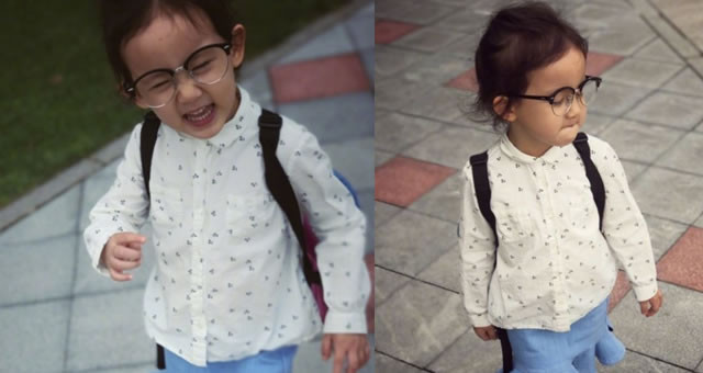 黄磊接女儿放学 多妹戴眼镜凹造型搞街拍萌翻
