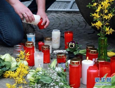 德国明斯特尔市悼念汽车冲撞事件遇难者