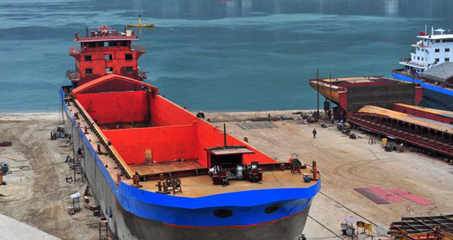 湖北宜昌:西陵峡岸造船忙