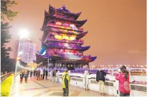 广西唯一的一座裸眼3D室外投影秀在南宁上演