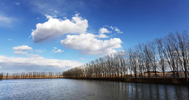 天津市蓟州区于桥水库春意盎然