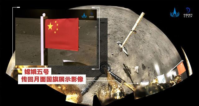 实拍!嫦娥五号传回月面国旗展示影像
