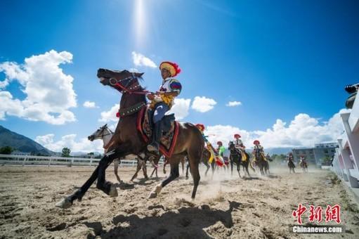 西藏传统马术表演亮相雪顿节