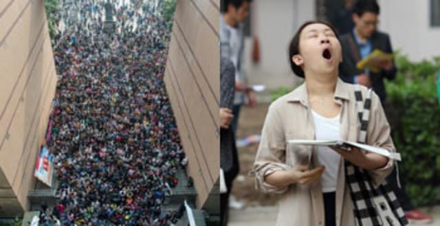 武汉十万考生涌入公务员考试现场