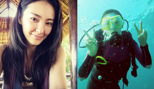 张雨绮潜水照 秀长腿秒变美人鱼图片